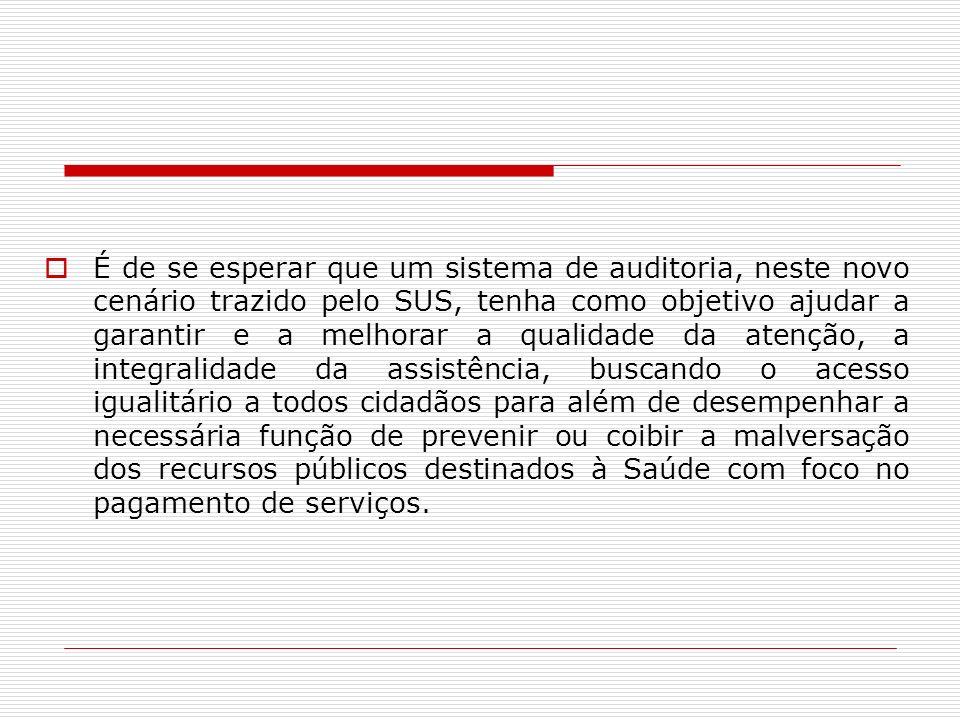 É de se esperar que um sistema de auditoria, neste novo cenário trazido pelo SUS, tenha como objetivo ajudar a garantir e a melhorar a qualidade da at