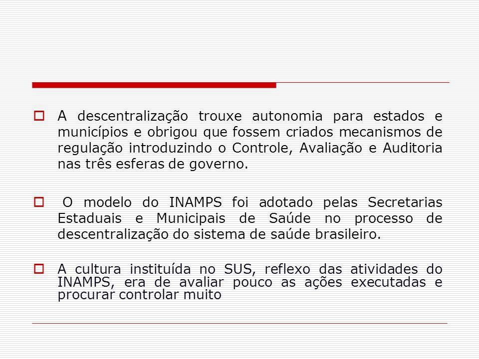 A descentralização trouxe autonomia para estados e municípios e obrigou que fossem criados mecanismos de regulação introduzindo o Controle, Avaliação