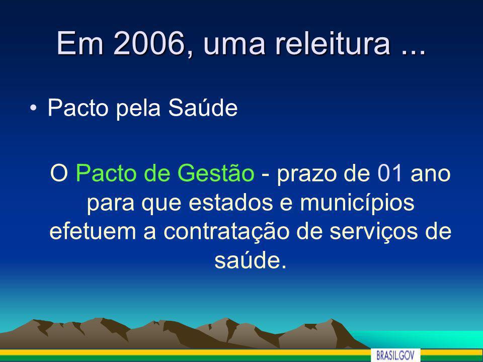 Em 2006, uma releitura... Pacto pela Saúde O Pacto de Gestão - prazo de 01 ano para que estados e municípios efetuem a contratação de serviços de saúd