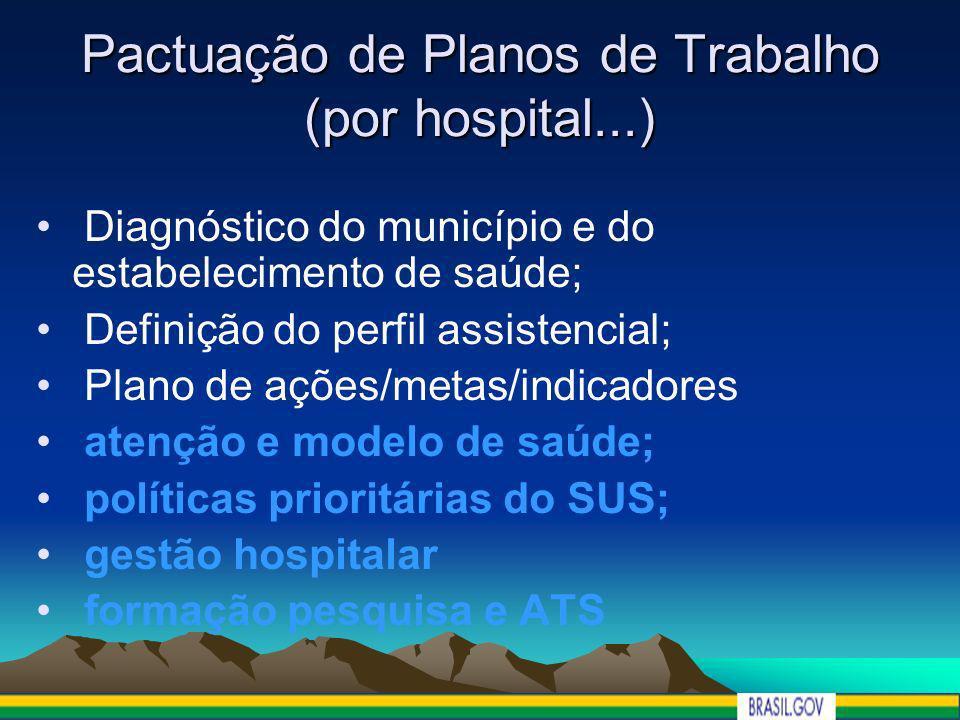 Pactuação de Planos de Trabalho (por hospital...) Diagnóstico do município e do estabelecimento de saúde; Definição do perfil assistencial; Plano de a