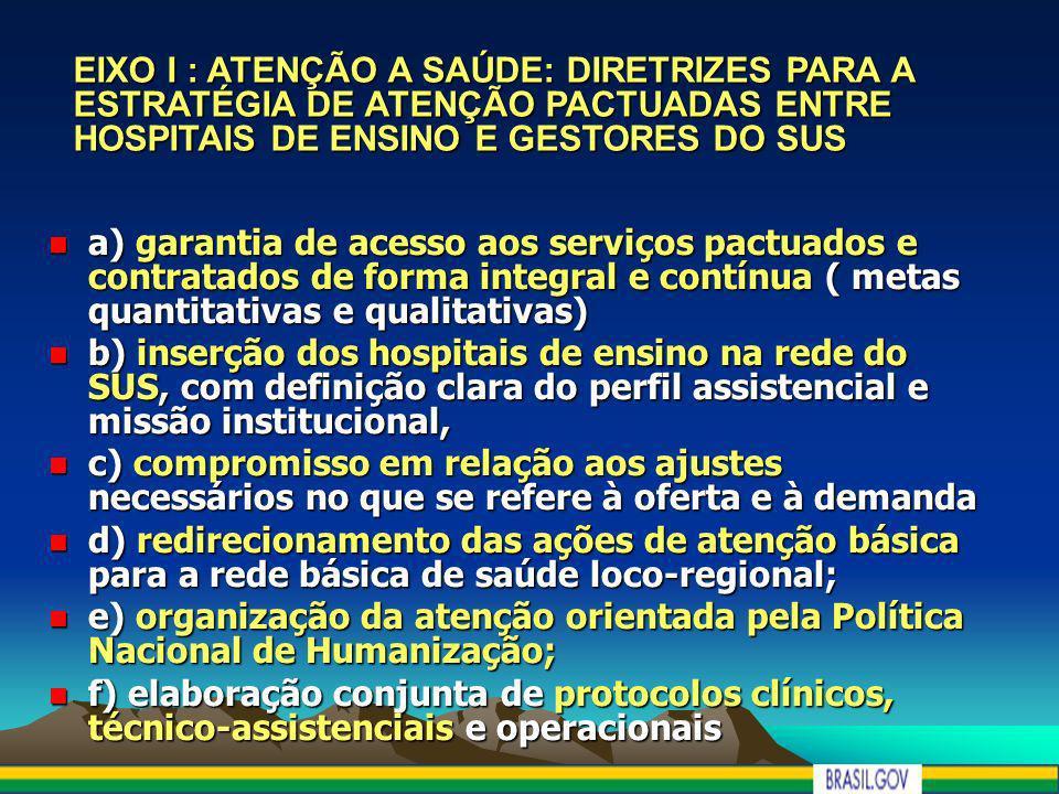 EIXO I : ATENÇÃO A SAÚDE: DIRETRIZES PARA A ESTRATÉGIA DE ATENÇÃO PACTUADAS ENTRE HOSPITAIS DE ENSINO E GESTORES DO SUS a) garantia de acesso aos serv