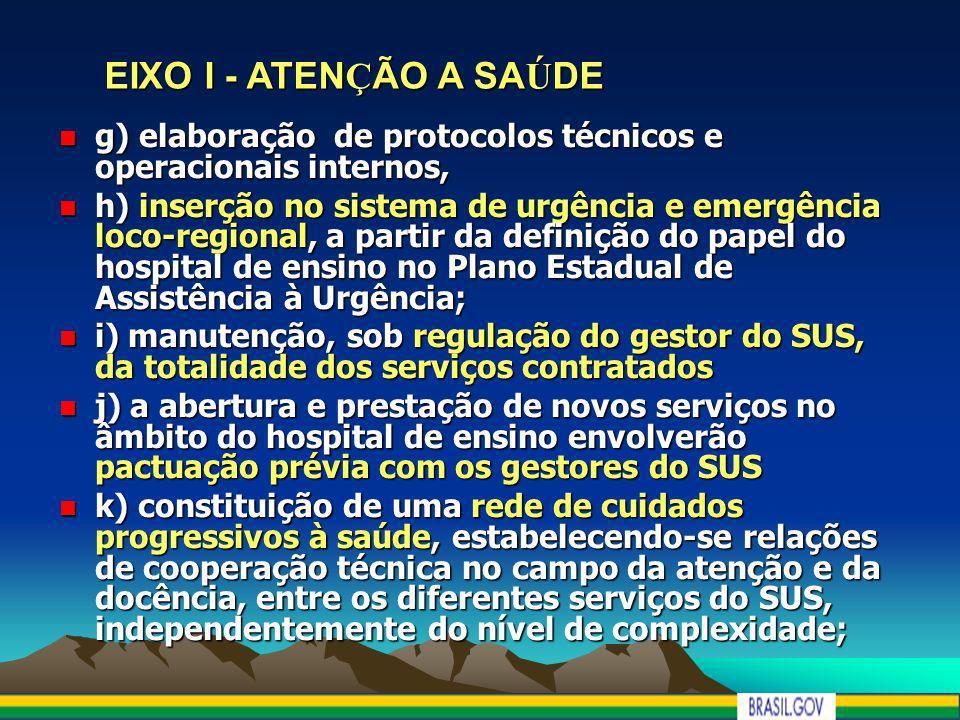 EIXO I - ATEN Ç ÃO A SA Ú DE EIXO I - ATEN Ç ÃO A SA Ú DE g) elaboração de protocolos técnicos e operacionais internos, g) elaboração de protocolos té