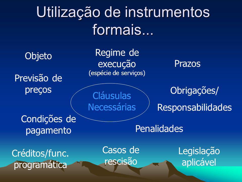 Utilização de instrumentos formais... Cláusulas Necessárias Objeto Regime de execução (espécie de serviços) Previsão de preços Condições de pagamento