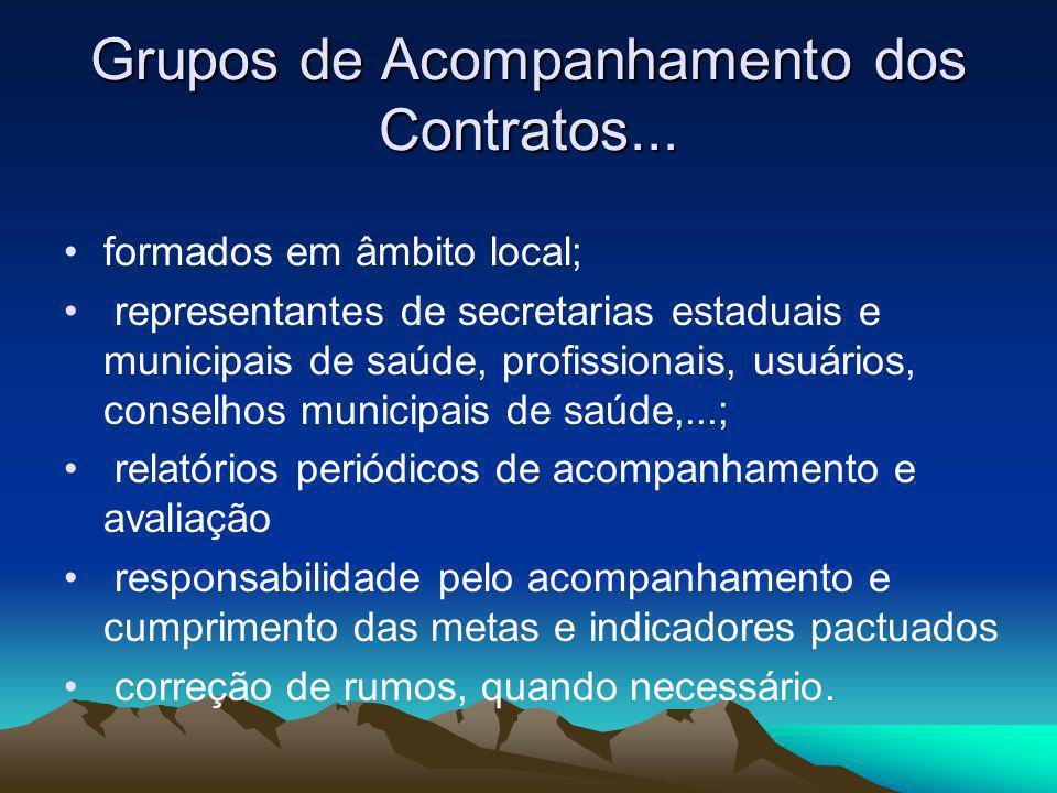 Grupos de Acompanhamento dos Contratos... formados em âmbito local; representantes de secretarias estaduais e municipais de saúde, profissionais, usuá