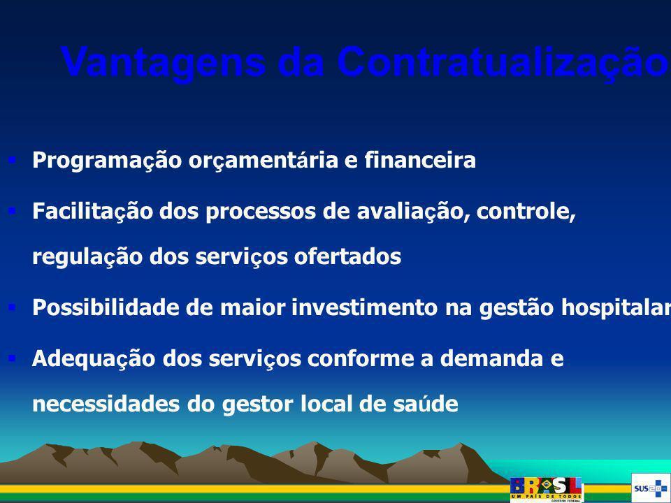Vantagens da Contratualização Programa ç ão or ç ament á ria e financeira Facilita ç ão dos processos de avalia ç ão, controle, regula ç ão dos servi
