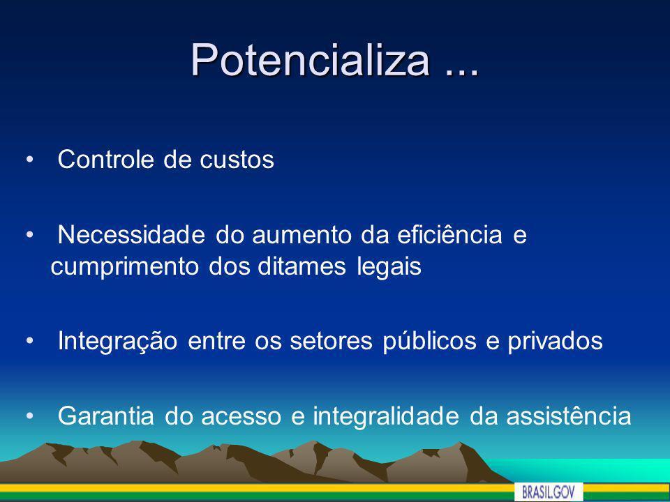 Potencializa... Controle de custos Necessidade do aumento da eficiência e cumprimento dos ditames legais Integração entre os setores públicos e privad