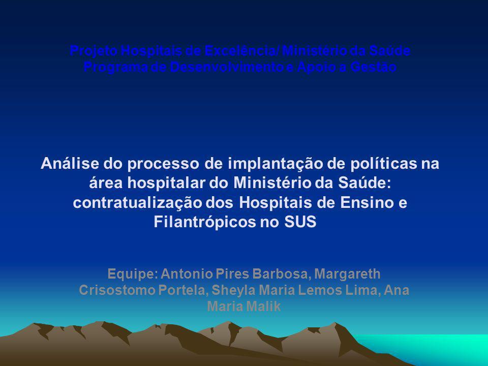 Projeto Hospitais de Excelência/ Ministério da Saúde Programa de Desenvolvimento e Apoio a Gestão Análise do processo de implantação de políticas na á