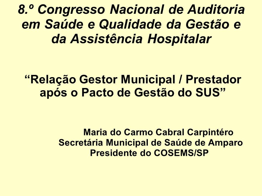 8.º Congresso Nacional de Auditoria em Saúde e Qualidade da Gestão e da Assistência Hospitalar Relação Gestor Municipal / Prestador após o Pacto de Ge