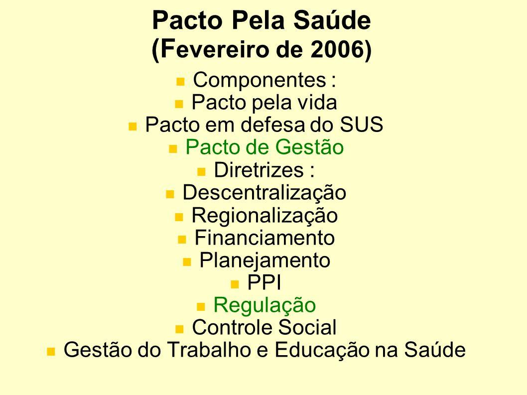 Pacto Pela Saúde (F evereiro de 2006) Componentes : Pacto pela vida Pacto em defesa do SUS Pacto de Gestão Diretrizes : Descentralização Regionalizaçã