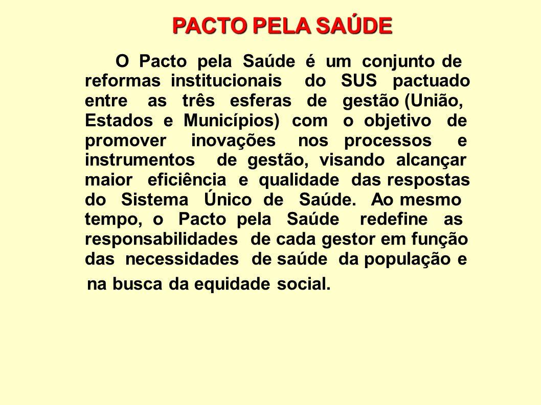 PACTO PELA SAÚDE O Pacto pela Saúde é um conjunto de reformas institucionais do SUS pactuado entre as três esferas de gestão (União, Estados e Municíp