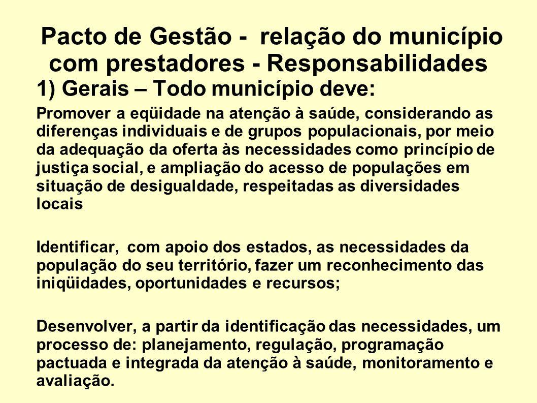 Pacto de Gestão - relação do município com prestadores - Responsabilidades 1) Gerais – Todo município deve: Promover a eqüidade na atenção à saúde, co