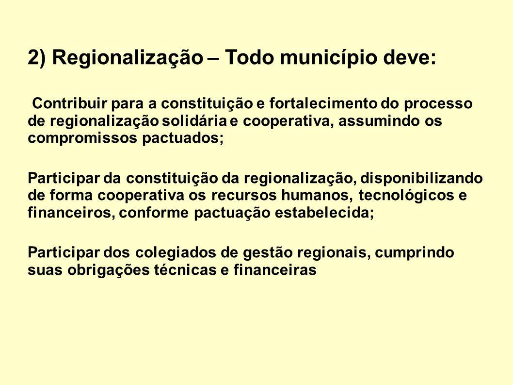 2) Regionalização – Todo município deve: Contribuir para a constituição e fortalecimento do processo de regionalização solidária e cooperativa, assumi