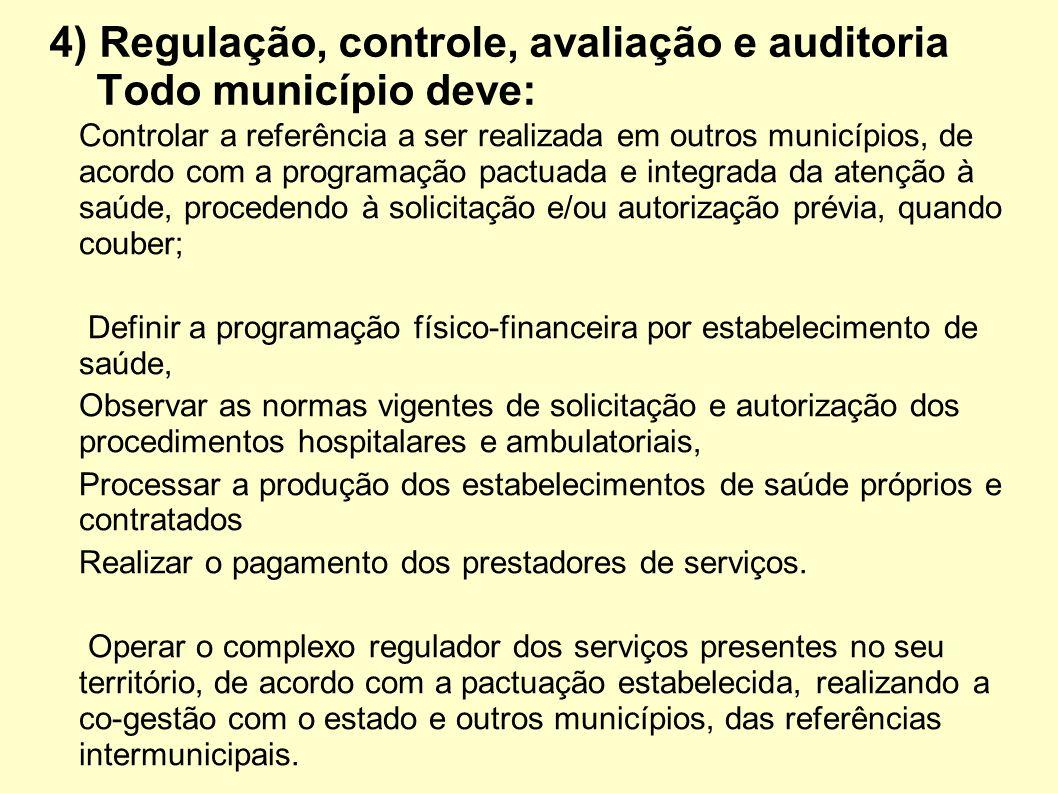 4) Regulação, controle, avaliação e auditoria Todo município deve: Controlar a referência a ser realizada em outros municípios, de acordo com a progra