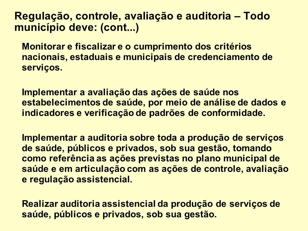 Monitorar e fiscalizar e o cumprimento dos critérios nacionais, estaduais e municipais de credenciamento de serviços. Implementar a avaliação das açõe