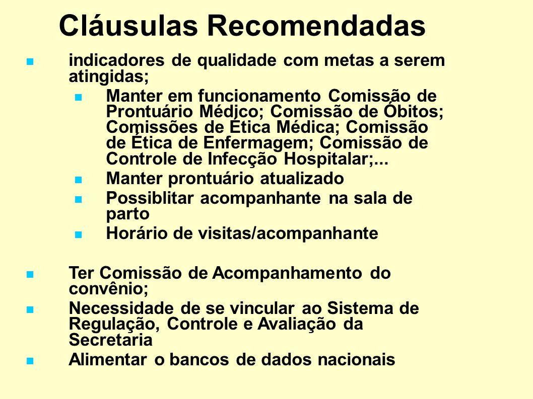 Cláusulas Recomendadas indicadores de qualidade com metas a serem atingidas; Manter em funcionamento Comissão de Prontuário Médico; Comissão de Óbitos