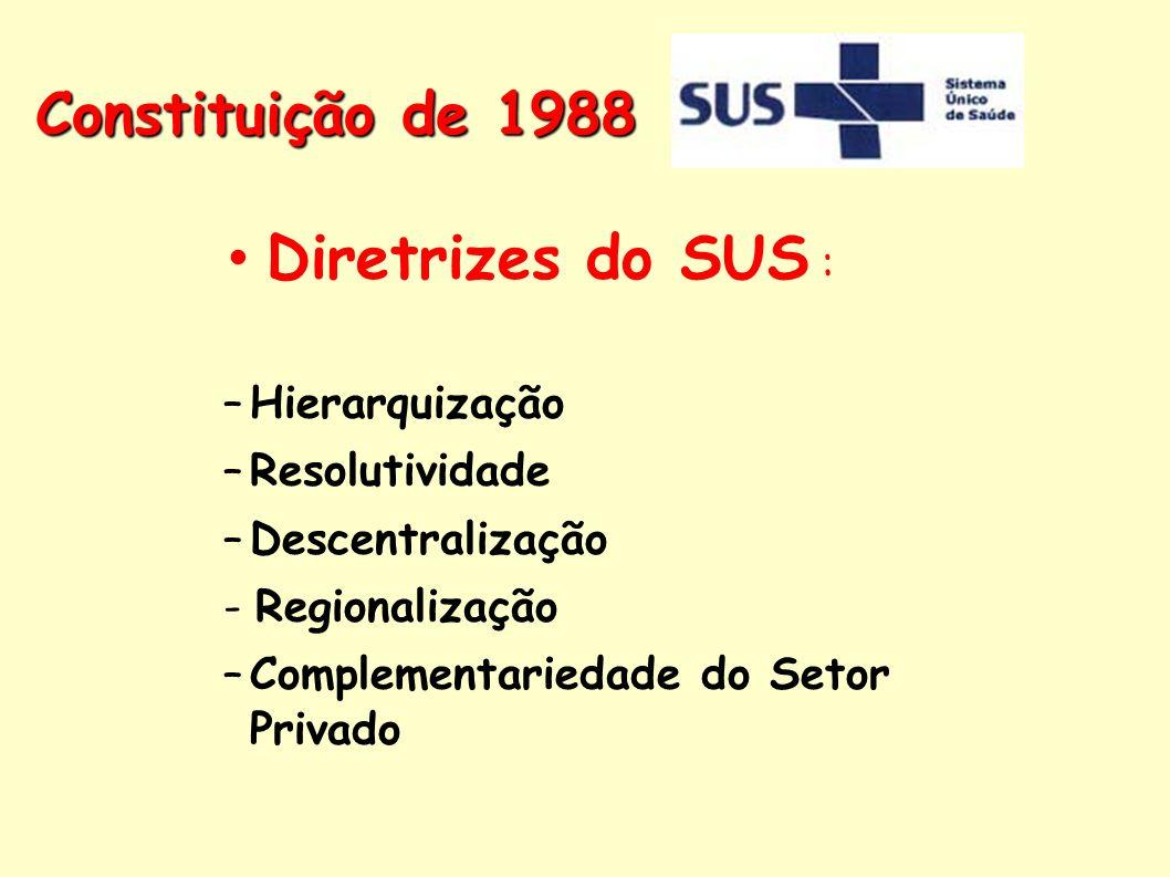 Diretrizes do SUS : –Hierarquização –Resolutividade –Descentralização - Regionalização –Complementariedade do Setor Privado Constituição de 1988