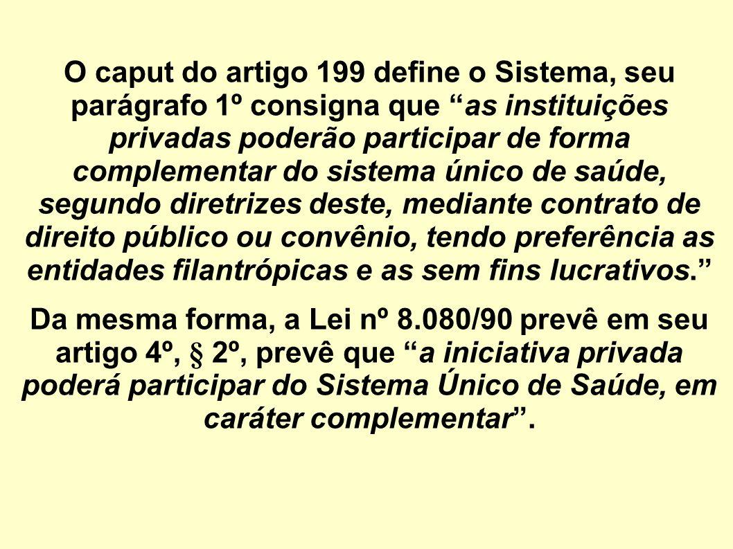 O caput do artigo 199 define o Sistema, seu parágrafo 1º consigna que as instituições privadas poderão participar de forma complementar do sistema úni