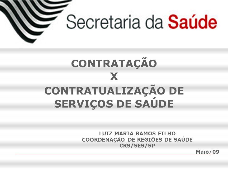 LUIZ MARIA RAMOS FILHO COORDENAÇÃO DE REGIÕES DE SAÚDE CRS/SES/SP Maio/09 CONTRATAÇÃO X CONTRATUALIZAÇÃO DE SERVIÇOS DE SAÚDE