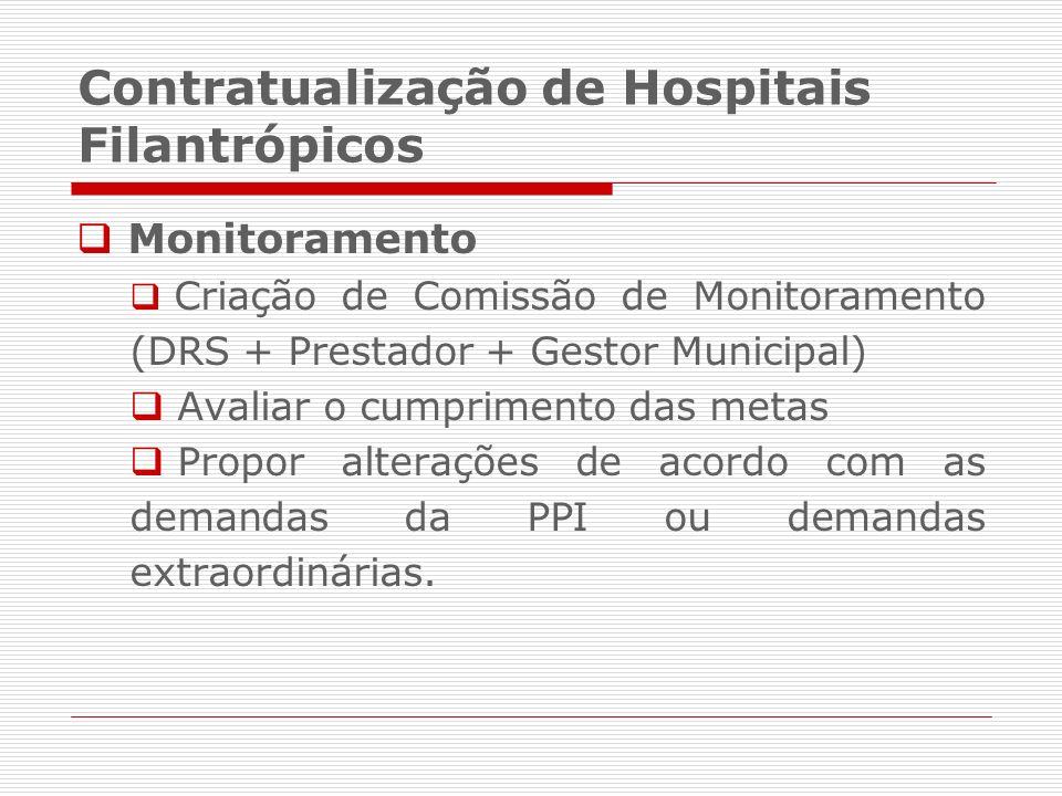 Monitoramento Criação de Comissão de Monitoramento (DRS + Prestador + Gestor Municipal) Avaliar o cumprimento das metas Propor alterações de acordo co