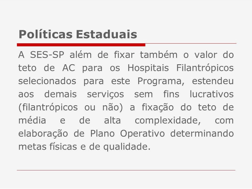 Políticas Estaduais A SES-SP além de fixar também o valor do teto de AC para os Hospitais Filantrópicos selecionados para este Programa, estendeu aos