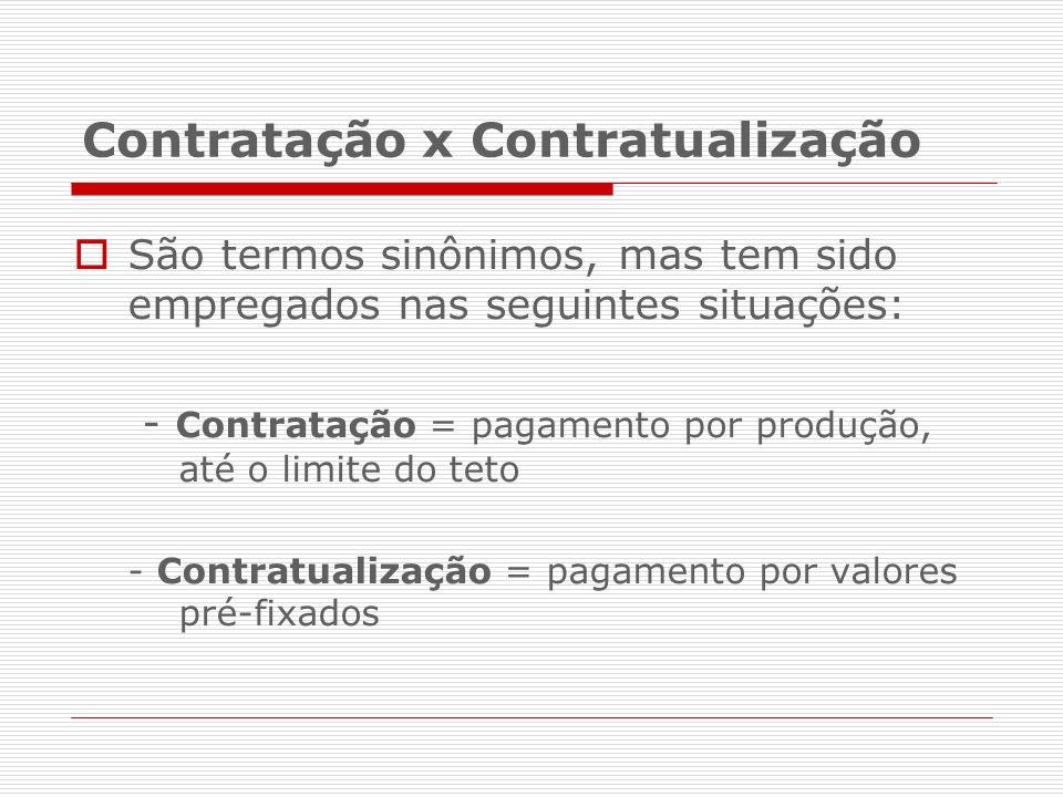 Contratação x Contratualização São termos sinônimos, mas tem sido empregados nas seguintes situações: - Contratação = pagamento por produção, até o li