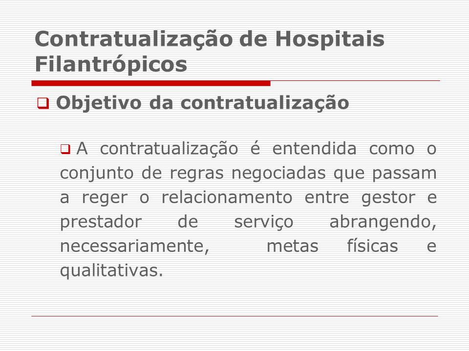 Contratualização de Hospitais Filantrópicos Objetivo da contratualização A contratualização é entendida como o conjunto de regras negociadas que passa