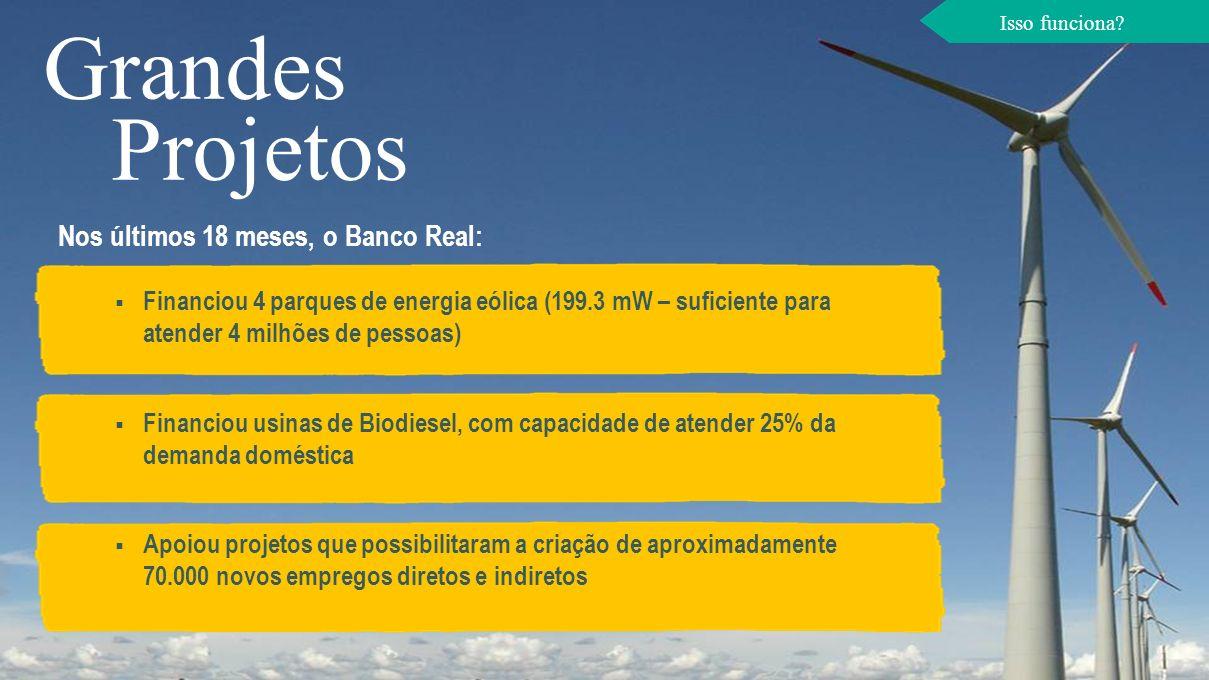 Grandes Projetos Financiou 4 parques de energia eólica (199.3 mW – suficiente para atender 4 milhões de pessoas) Financiou usinas de Biodiesel, com ca
