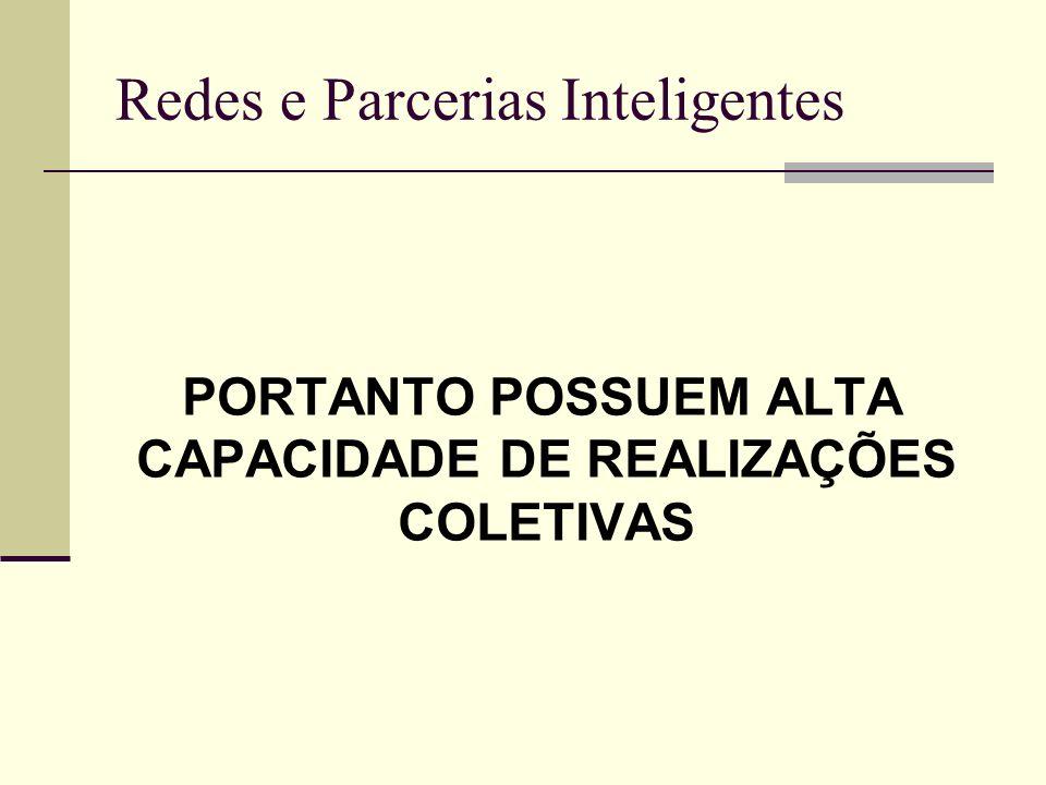 Redes e Parcerias Inteligentes PORTANTO POSSUEM ALTA CAPACIDADE DE REALIZAÇÕES COLETIVAS