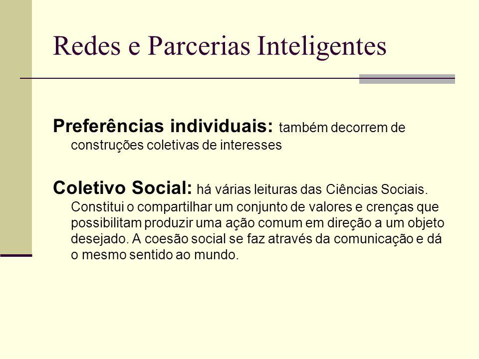 Redes e Parcerias Inteligentes Preferências individuais: também decorrem de construções coletivas de interesses Coletivo Social: há várias leituras da