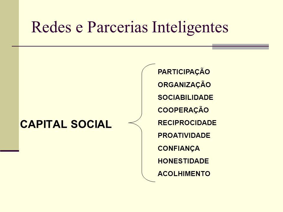 Redes e Parcerias Inteligentes CAPITAL SOCIAL PARTICIPAÇÃO ORGANIZAÇÃO SOCIABILIDADE COOPERAÇÃO RECIPROCIDADE PROATIVIDADE CONFIANÇA HONESTIDADE ACOLH