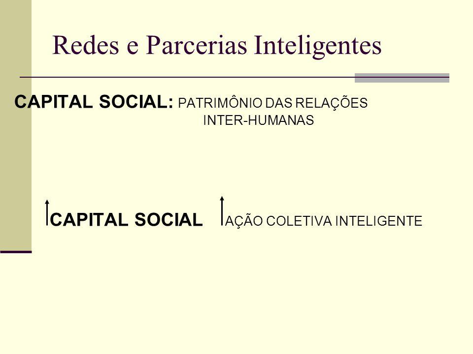 Redes e Parcerias Inteligentes CAPITAL SOCIAL: PATRIMÔNIO DAS RELAÇÕES INTER-HUMANAS CAPITAL SOCIAL AÇÃO COLETIVA INTELIGENTE