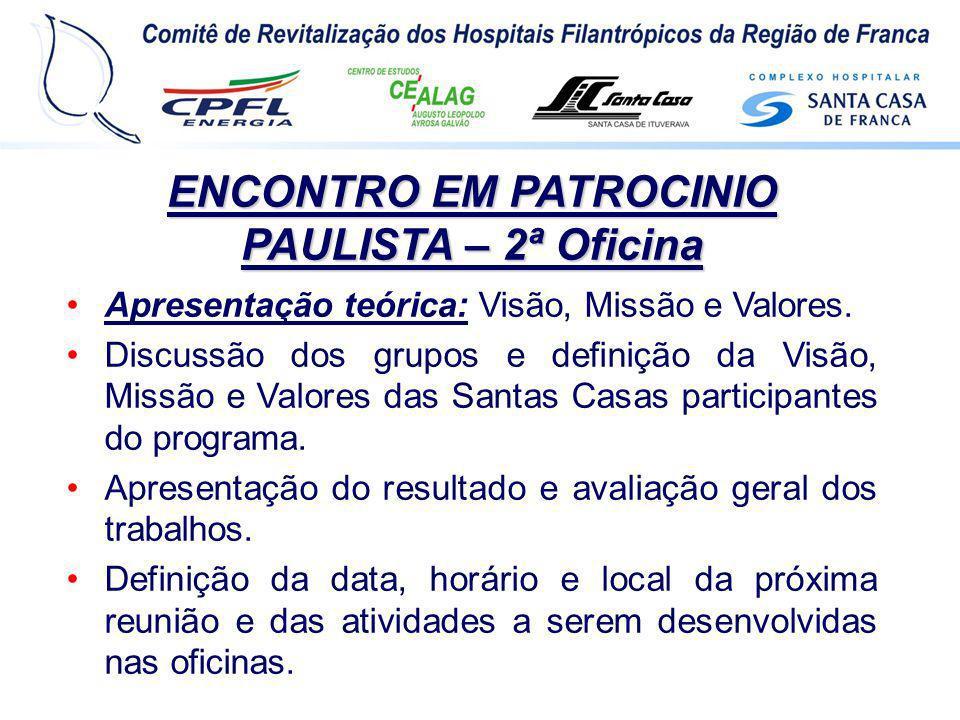 ENCONTRO EM PATROCINIO PAULISTA – 2ª Oficina Apresentação teórica: Visão, Missão e Valores. Discussão dos grupos e definição da Visão, Missão e Valore