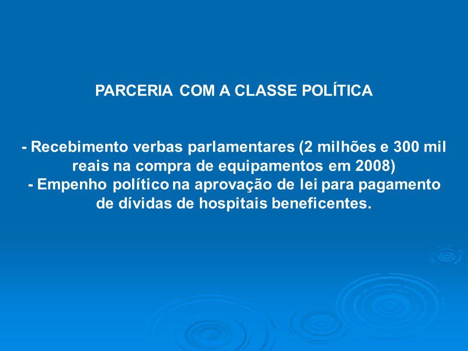 PARCERIA COM A CLASSE POLÍTICA - Recebimento verbas parlamentares (2 milhões e 300 mil reais na compra de equipamentos em 2008) - Empenho político na