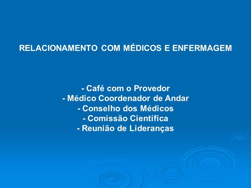 RELACIONAMENTO COM MÉDICOS E ENFERMAGEM - Café com o Provedor - Médico Coordenador de Andar - Conselho dos Médicos - Comissão Científica - Reunião de