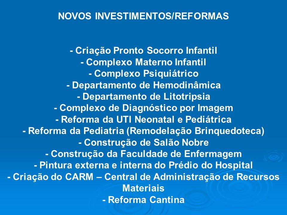 NOVOS INVESTIMENTOS/REFORMAS - Criação Pronto Socorro Infantil - Complexo Materno Infantil - Complexo Psiquiátrico - Departamento de Hemodinâmica - De
