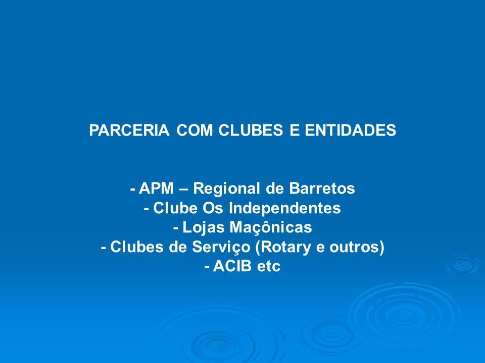 PARCERIA COM CLUBES E ENTIDADES - APM – Regional de Barretos - Clube Os Independentes - Lojas Maçônicas - Clubes de Serviço (Rotary e outros) - ACIB e