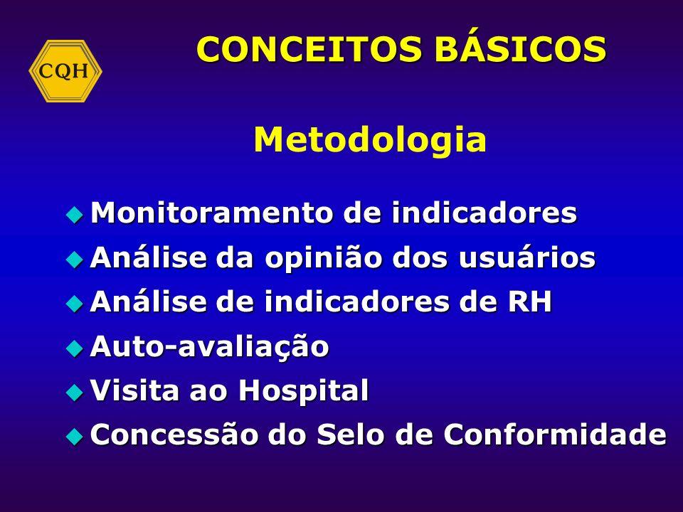 CONCEITOS BÁSICOS Qualidade CQH u Adequação ao uso e às exigências u Conformidade com as normas do Programa