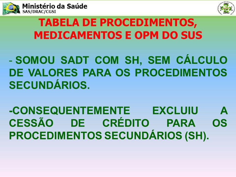 Ministério da Saúde SAS/DRAC/CGSI TABELA DE PROCEDIMENTOS, MEDICAMENTOS E OPM DO SUS - AMPLIOU O NÚMERO DE PROCEDIMENTOS ESPECIAIS, DANDO VALOR A MUITOS PROCEDIMENTOS, ANTES ZERADOS.