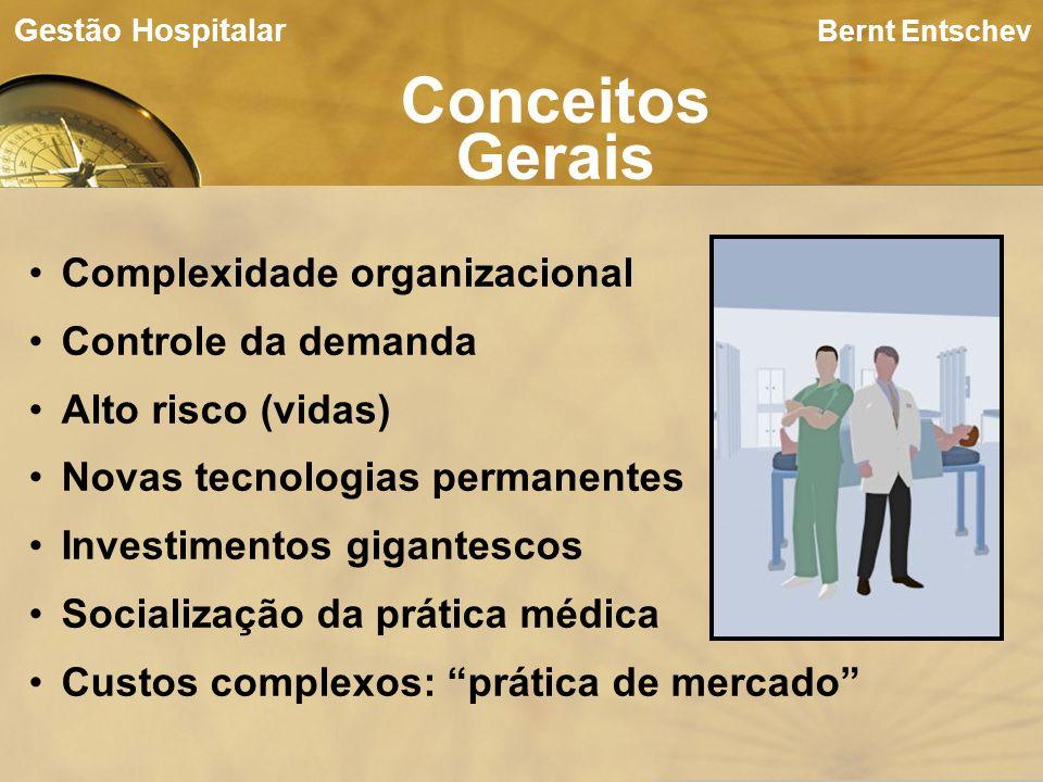 Bernt Entschev Conceitos Gerais Gestão Hospitalar Complexidade organizacional Controle da demanda Alto risco (vidas) Novas tecnologias permanentes Inv