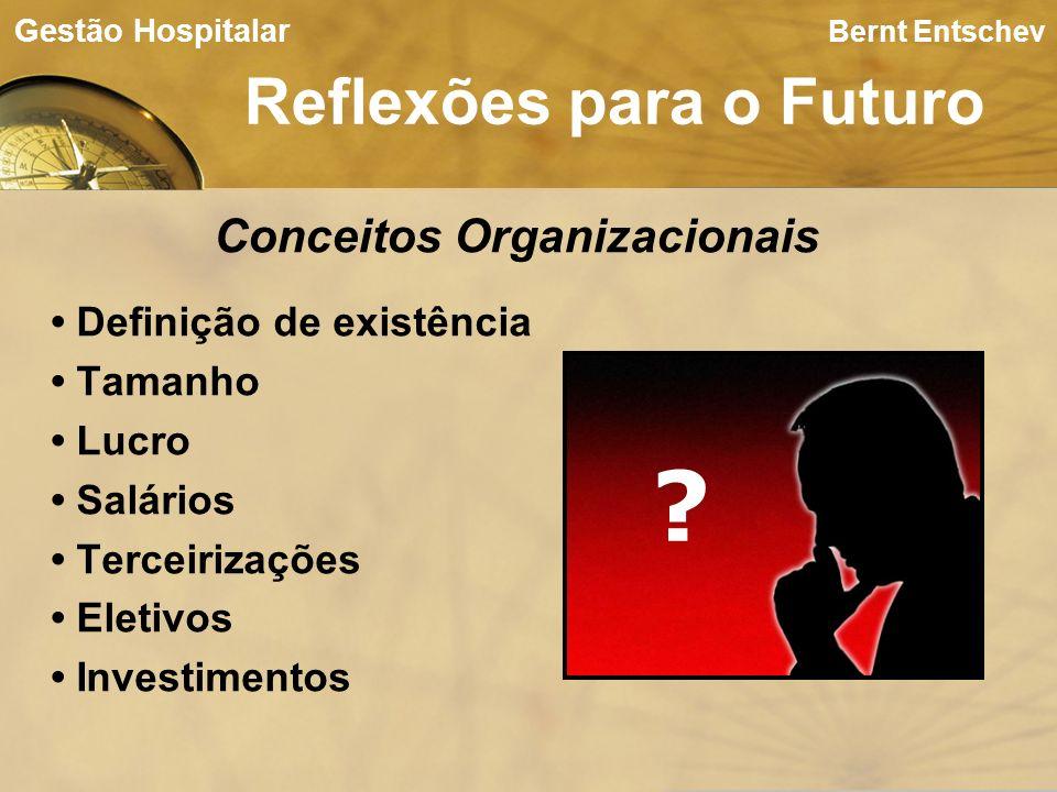 Bernt Entschev Reflexões para o Futuro Gestão Hospitalar Conceitos Organizacionais Definição de existência Tamanho Lucro Salários Terceirizações Eleti