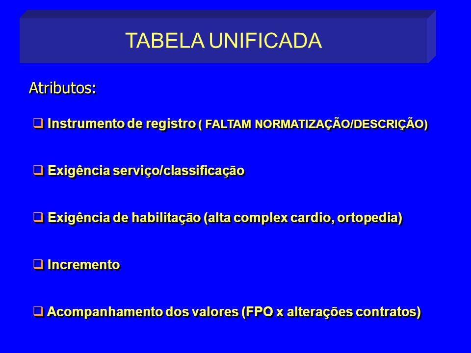 Instrumento de registro ( FALTAM NORMATIZAÇÃO/DESCRIÇÃO) Exigência serviço/classificação Exigência de habilitação (alta complex cardio, ortopedia) Inc