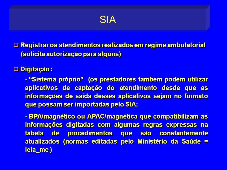 Registrar os atendimentos realizados em regime ambulatorial (solicita autorização para alguns) Digitação : Registrar os atendimentos realizados em reg