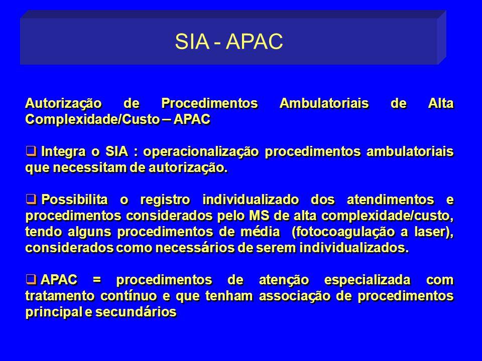 Autoriza ç ão de Procedimentos Ambulatoriais de Alta Complexidade/Custo – APAC Integra o SIA : operacionaliza ç ão procedimentos ambulatoriais que nec