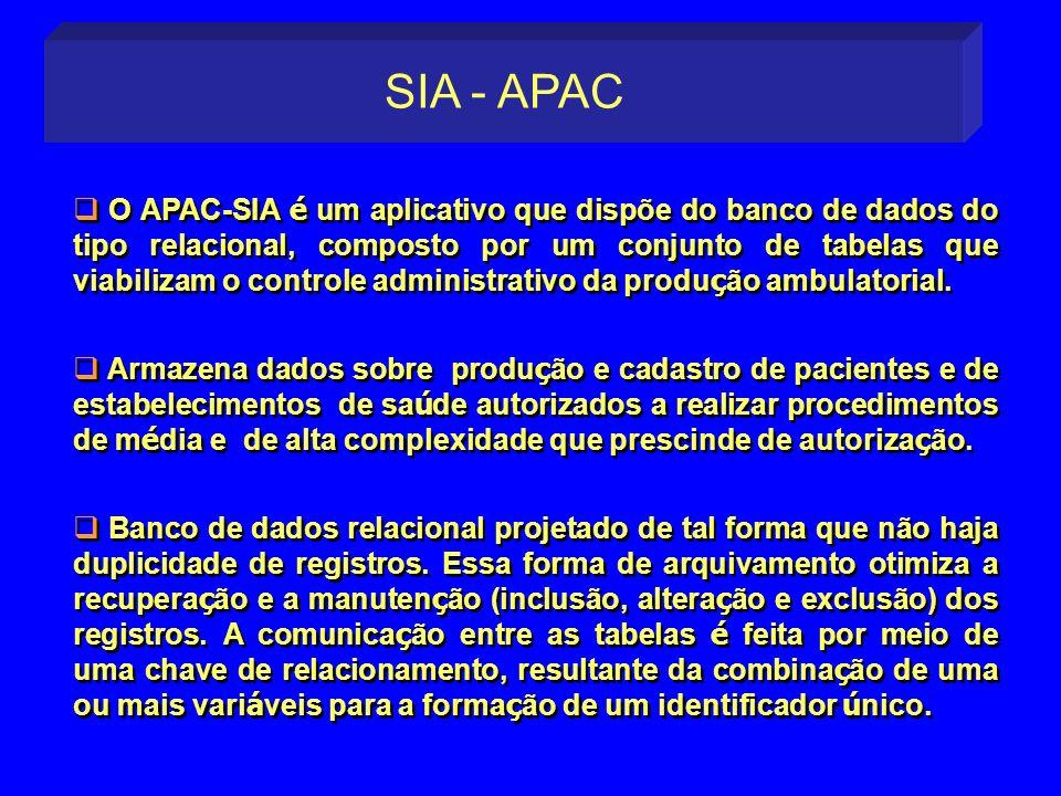 O APAC-SIA é um aplicativo que dispõe do banco de dados do tipo relacional, composto por um conjunto de tabelas que viabilizam o controle administrati
