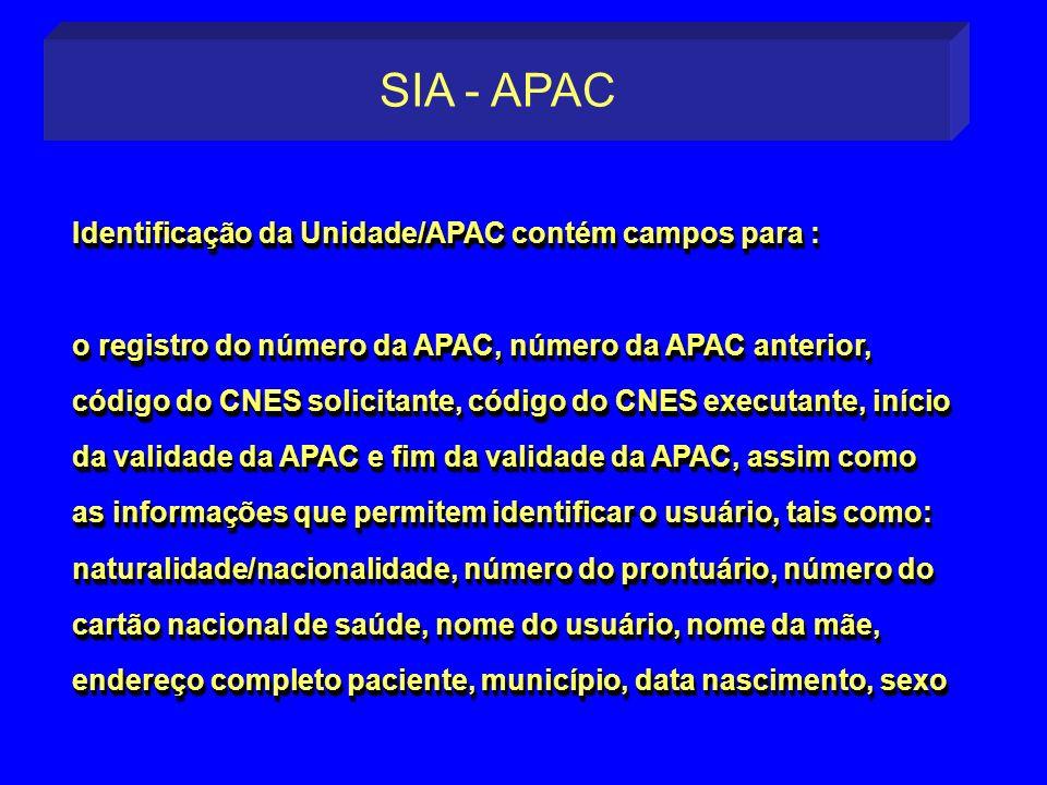 Identificação da Unidade/APAC contém campos para : o registro do número da APAC, número da APAC anterior, código do CNES solicitante, código do CNES e