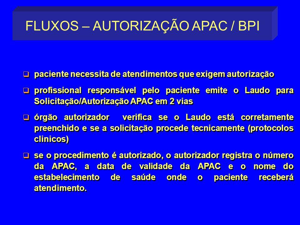 paciente necessita de atendimentos que exigem autorização profissional responsável pelo paciente emite o Laudo para Solicitação/Autorização APAC em 2