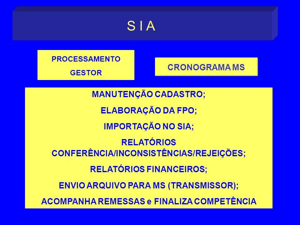 CRONOGRAMA MS S I A CRONOGRAMA MS PROCESSAMENTO GESTOR MANUTENÇÃO CADASTRO; ELABORAÇÃO DA FPO; IMPORTAÇÃO NO SIA; RELATÓRIOS CONFERÊNCIA/INCONSISTÊNCI