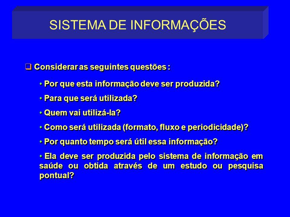 Por que esta informação deve ser produzida? Para que será utilizada? Quem vai utilizá-la? Como será utilizada (formato, fluxo e periodicidade)? Por qu