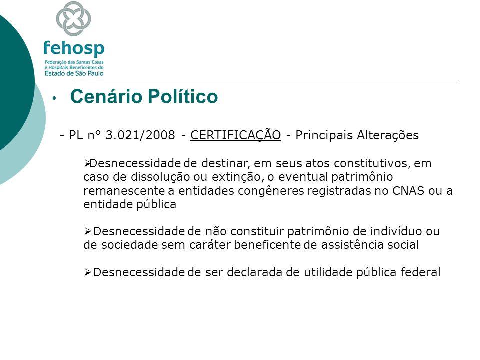 Cenário Político - PL n° 3.021/2008 - CERTIFICAÇÃO - Principais Alterações Desnecessidade de destinar, em seus atos constitutivos, em caso de dissoluç