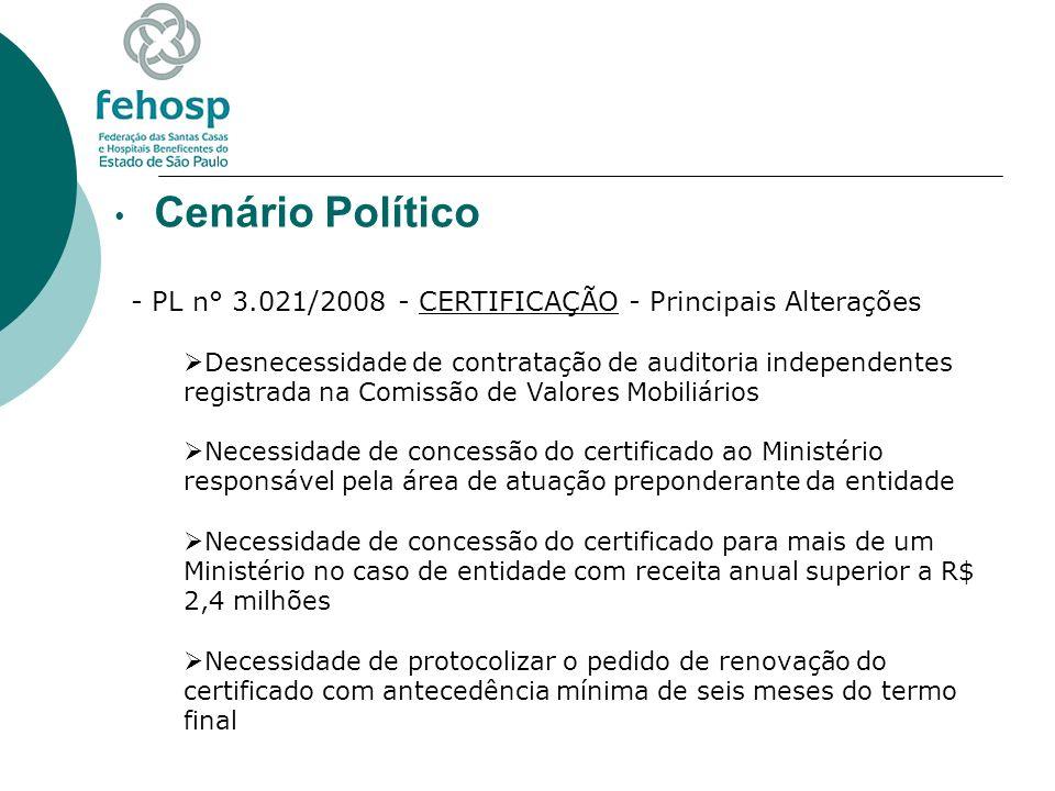 Cenário Político - PL n° 3.021/2008 - CERTIFICAÇÃO - Principais Alterações Desnecessidade de contratação de auditoria independentes registrada na Comi